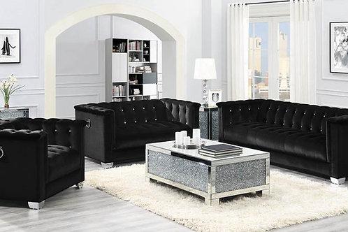 Chaviano Cali Tufted Black Velvet Chair