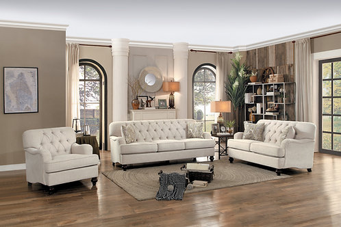 Clemencia Henry Beige Fabric Sofa