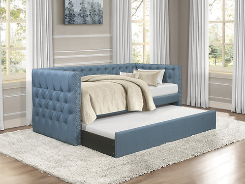 Henry Adalie Blue Fabric Daybed with Trundle