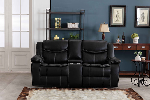 8004 Mg Black Reclining Loveseat Power