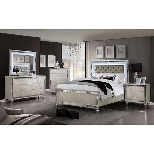 MANAR Imprad Transitional Silver Bed w/Lights