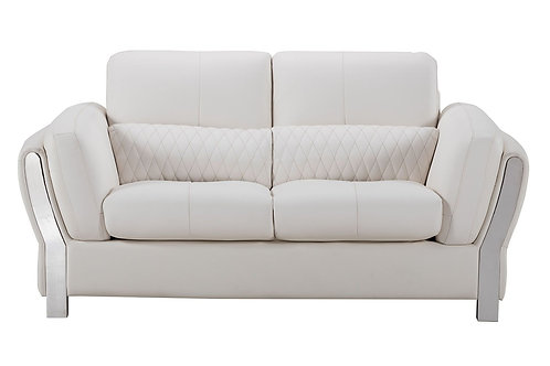690 AE White Microfiber Leather Loveseat