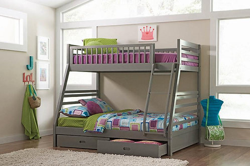 Ashton Cali Twin/Full Bunk Bed with 2-Drawers Storage