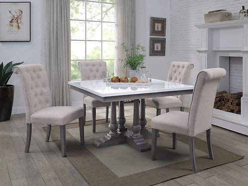 All Yabeina Marble Top & Gray Oak Finish Dining Table