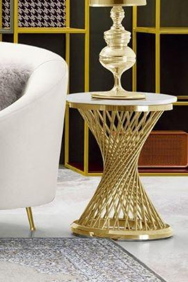 Solstice Dream Genuine Marble Top / Gold Base End Table