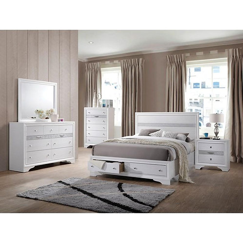 Naima All Queen Bed w/Storage White