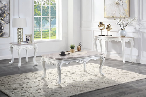 All Ciddrenar Traditional Marble Top & White Finish Coffee Table