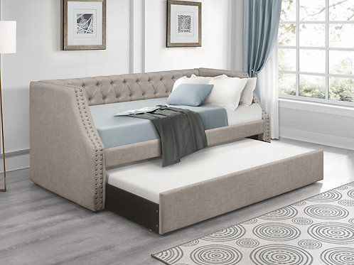 Henry Berwick Tufted Light Gray Daybed with Trundle