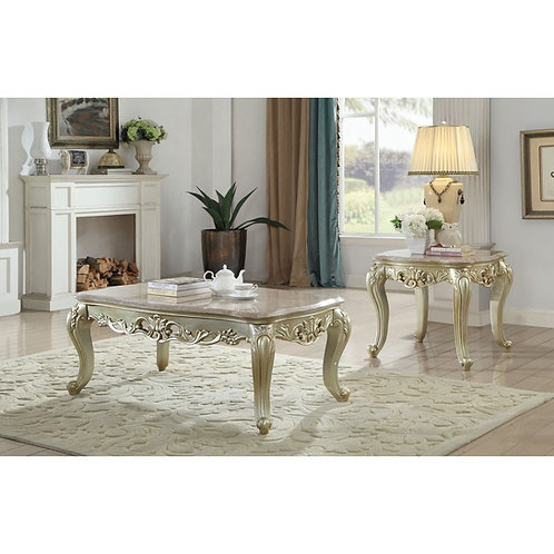All Gorsedd Coffee Table w/Marble Top Marble & Antique White