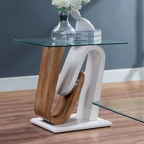 BATAM II Imprad Glass White/Natural Tone End Table