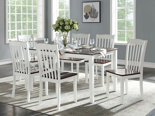 All Green Leigh 7Pc Pk Dining Set White & Walnut