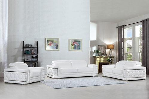 692 Geo White Italian Leather Sofa