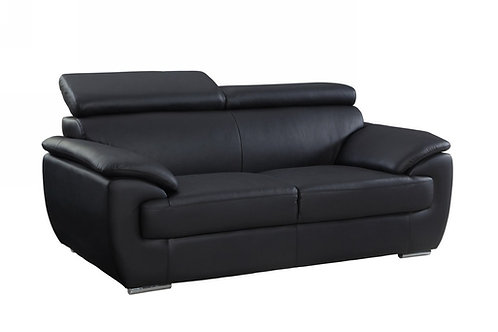 4571 Geo Black Leather Loveseat
