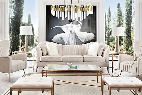 Ava Dream Sand Linen / Gold Base Sofa