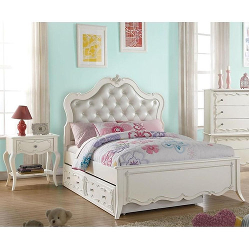 Edalene All PU & Pearl White Platform Bed w/Trundle