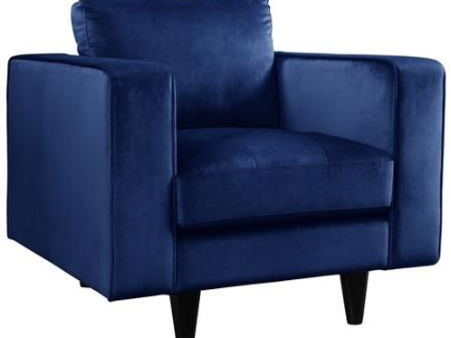 Heather All Navy Velvet Chair
