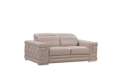 962 Geo Beige Italian Leather Loveseat