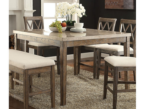 Claudia All White Marble Top Brown Finish Counter Height Table