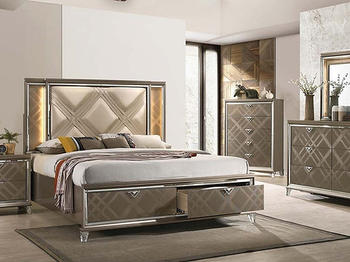 All Skylar Glam, Contemporary PU, LED Dark Champagne Bed Frame w/Drawers