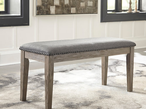 Aldwin Angel Gray Brushed Upholstered Bench w/Nailhead Trim