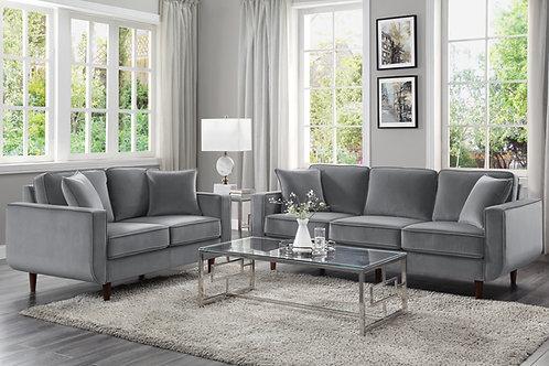 Rand Henry Velvet Mid-Century Gray Sofa