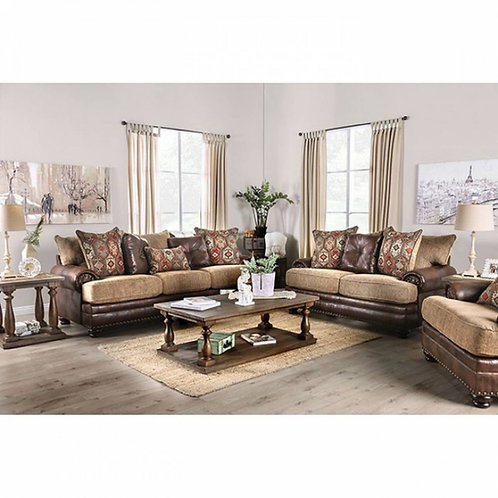 FLETCHER Imprad Transitional Brown Leather/Tan Chenille Fabric Sofa