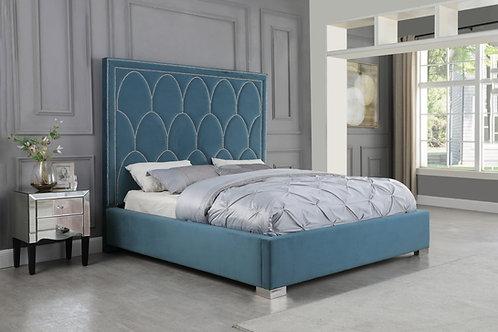 Best B66 Teal Blue Velvet Bed Frame w/Nailhead Trim