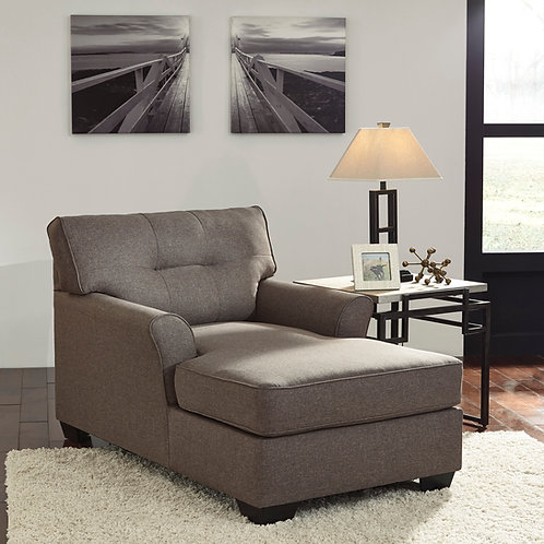 Tibbee Angel Slate Fabric Contemporary Chaise