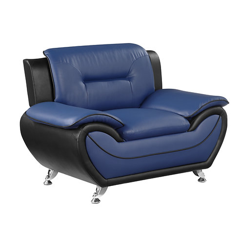 Henry Matteo Blue/Black Faux Leather Chair