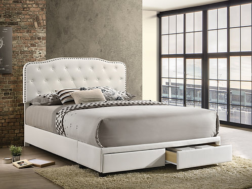 Best B125-FB Tufted White Faux Leather Bed w/Nailhead Trim & Storage
