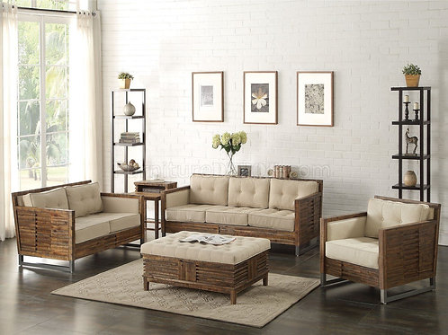 All Andria Sofa Beige Linen & Reclaimed Oak