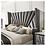 Thumbnail: CARISSA Imprad Transitional Gray Velvet Winged Back Bed Frame