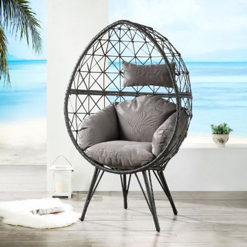 All Patio Light Gray Fabric & Black Wicker Lounge Chair - 45111