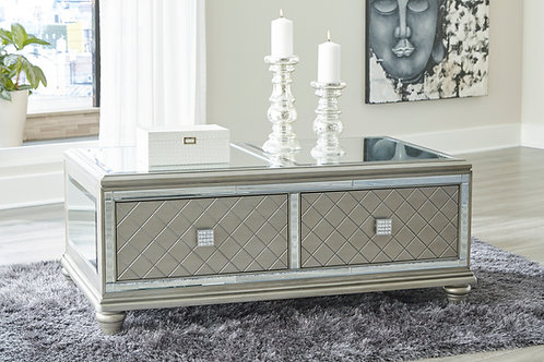 Angel Chevanna Contemporary Platinum Mirrored Cocktail Table w/2 Drawers