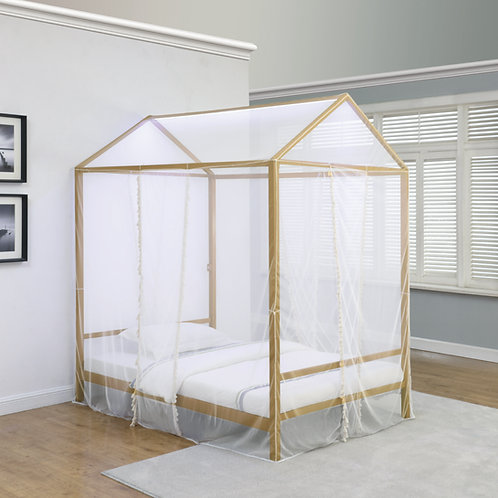 Altadena Canopy Bed With LED Lighting Matte Gold