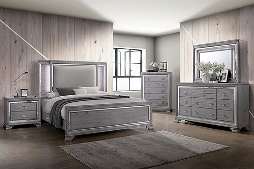 ALANIS Imprad LED Upholstered Light Gray Bed
