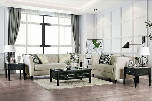 MONAGHAN Import Tufted Ivory Sofa