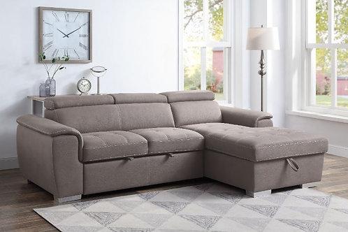 All HARUKO Light Brown Fabric Storage Sleeper Sectional Sofa