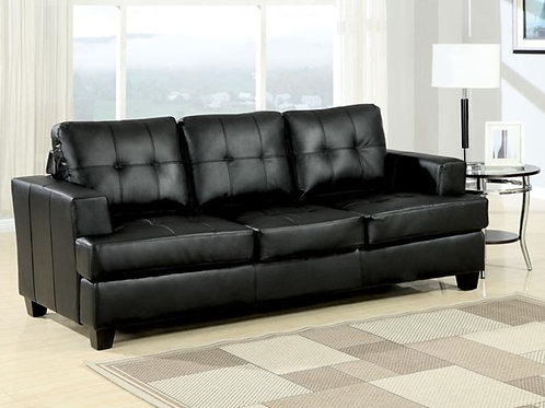 Platinum All Sofa w/Queen Sleeper Black Bonded Leather
