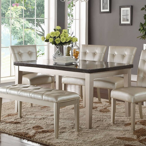 Voeville All Bluestone Top / Platinum Finish Dining Table