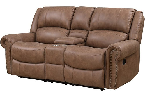 Emeral Spencer Light Brown Suede Motion Console Loveseat with Nail-heads