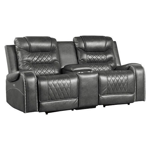 Putnam Henry Grey Power Double Reclining Love Seat with Center Console and USB