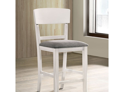 STACIE Imprad Transitional White/Gray Fabric Counter Ht. Side Chair