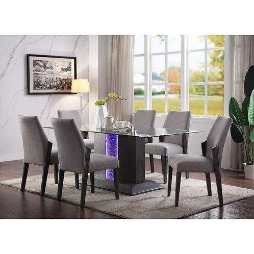 Bernice All Dining Table Gray Oak & Glass Top