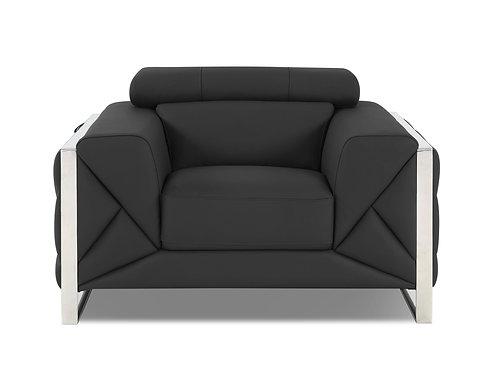 903 Geo Italian Leather Dark Gray Chair
