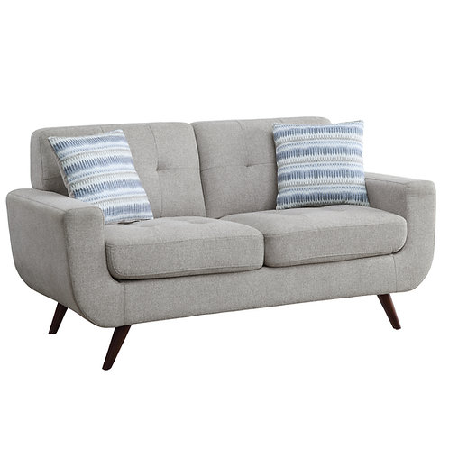 Henry Amberley Classic Mid-Century Gray Fabric Loveseat w/2 Pillows