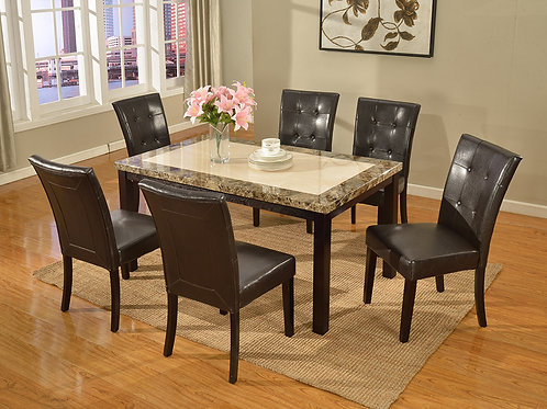 7763 Milt Faux Marble Top Table & 6 PU Side Chairs (7pc set)