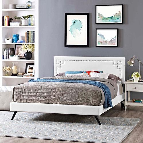 Ruthie Mod  Vinyl Platform Bed in White Mid-Century