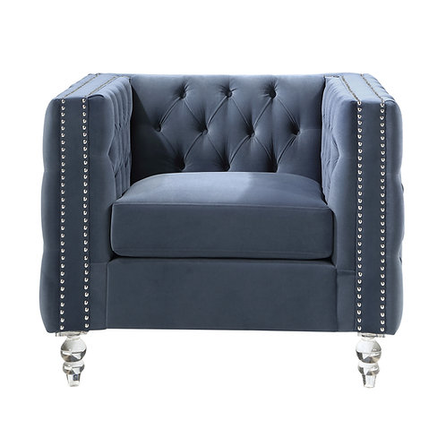 Henry 9349DBU Glam Blue Velvet Chair with Crystal Legs/Nailheads