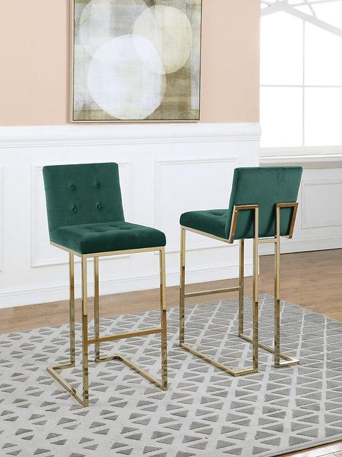 Best BS45 Tufted Emerald Green Velvet Barstool w/Gold Legs